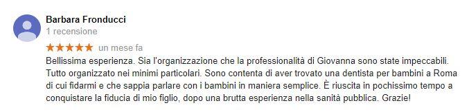 barbara fronducci recensione dentista per bambini roma giovanna pileggi